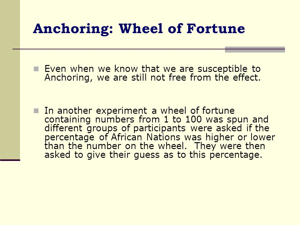 Anchoring: Wheel of Fortune