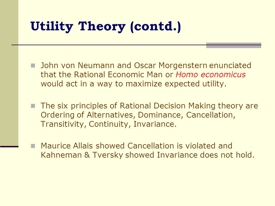 Utility Theory (contd.)