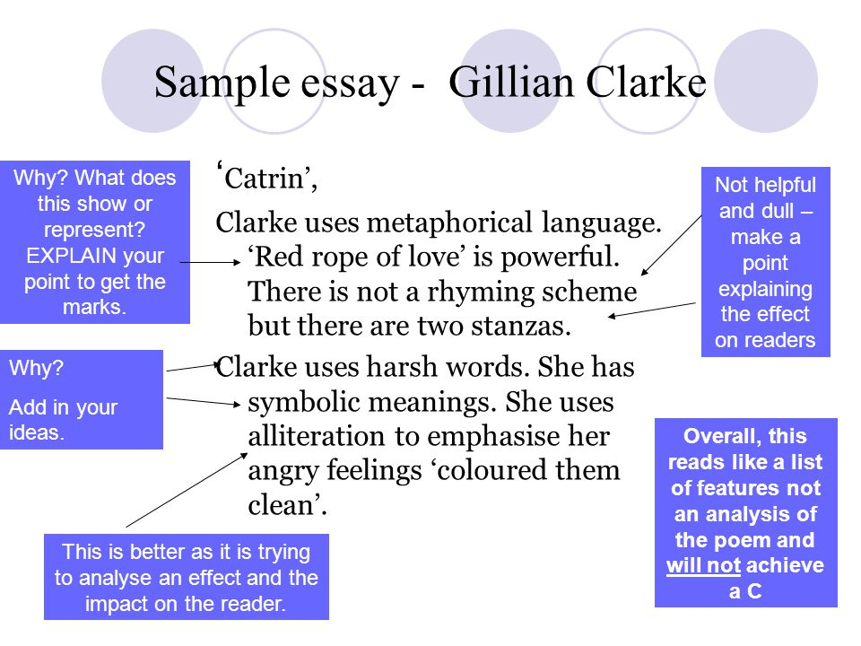 Sample essay - Gillian Clarke