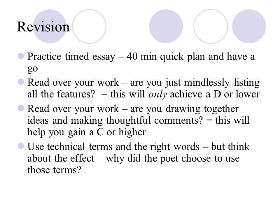 Revision Practice timed essay – 40 min quick plan and have a go