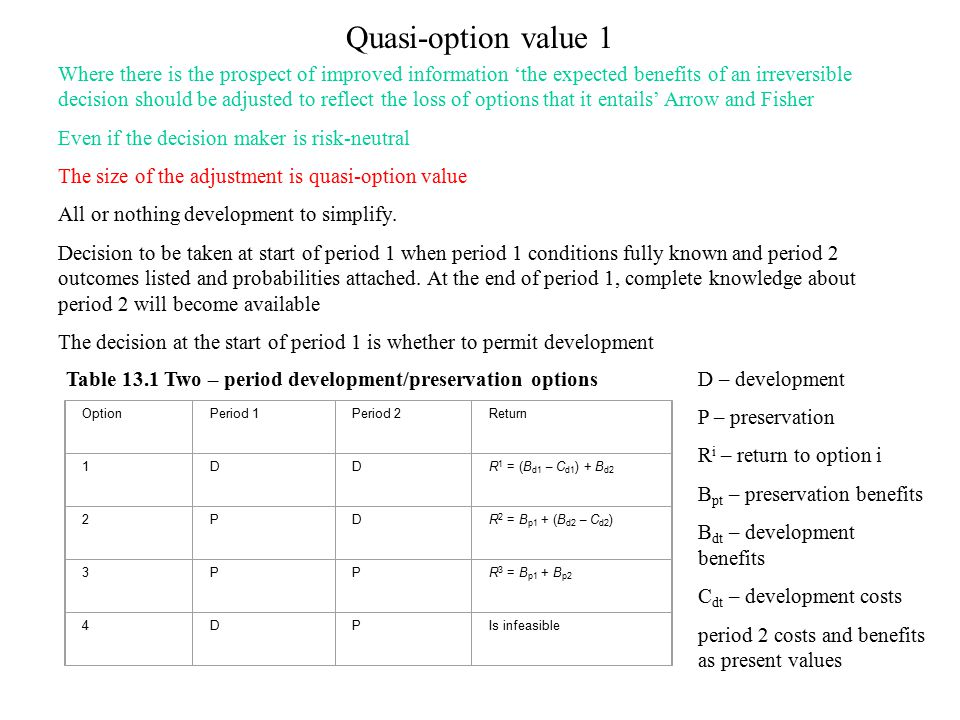 Quasi-option value 1