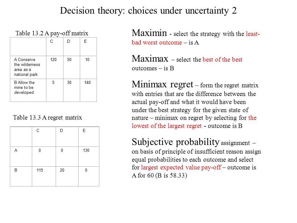 Decision theory: choices under uncertainty 2