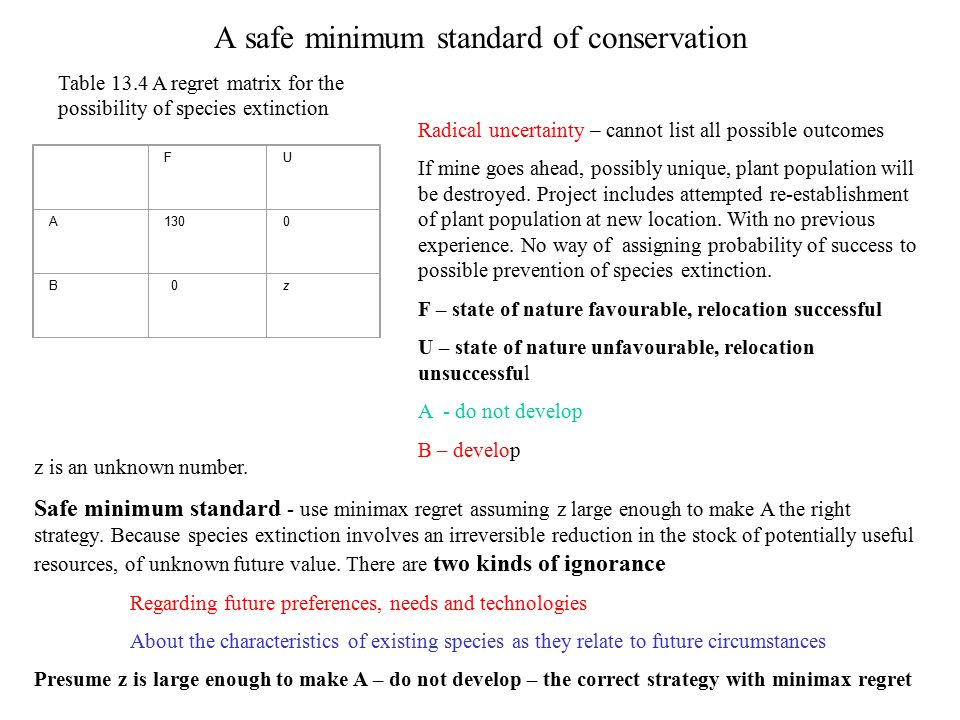 A safe minimum standard of conservation