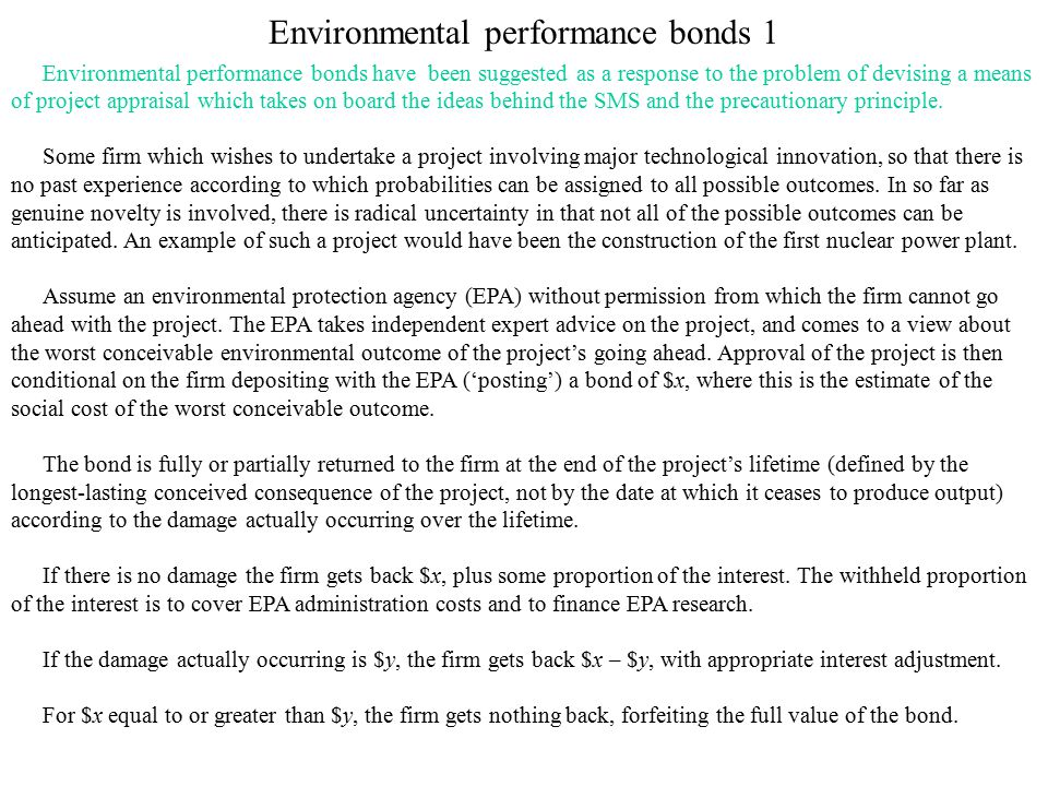 Environmental performance bonds 1