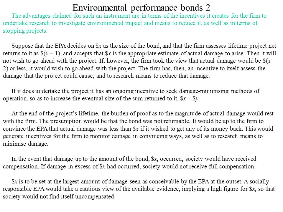 Environmental performance bonds 2