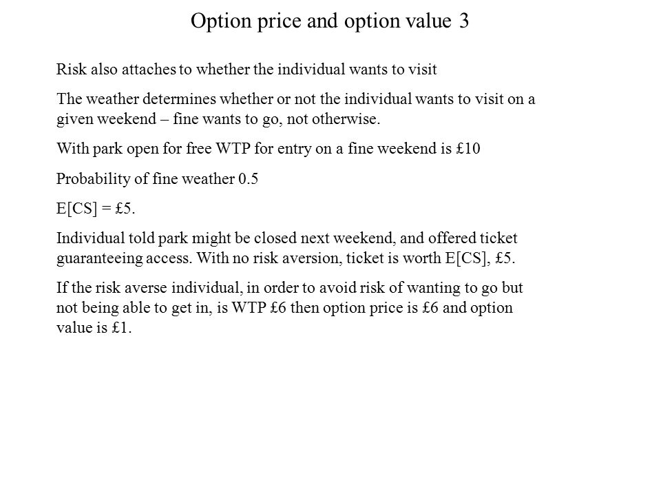 Option price and option value 3