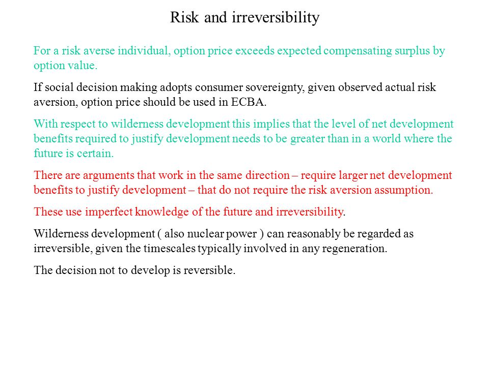 Risk and irreversibility