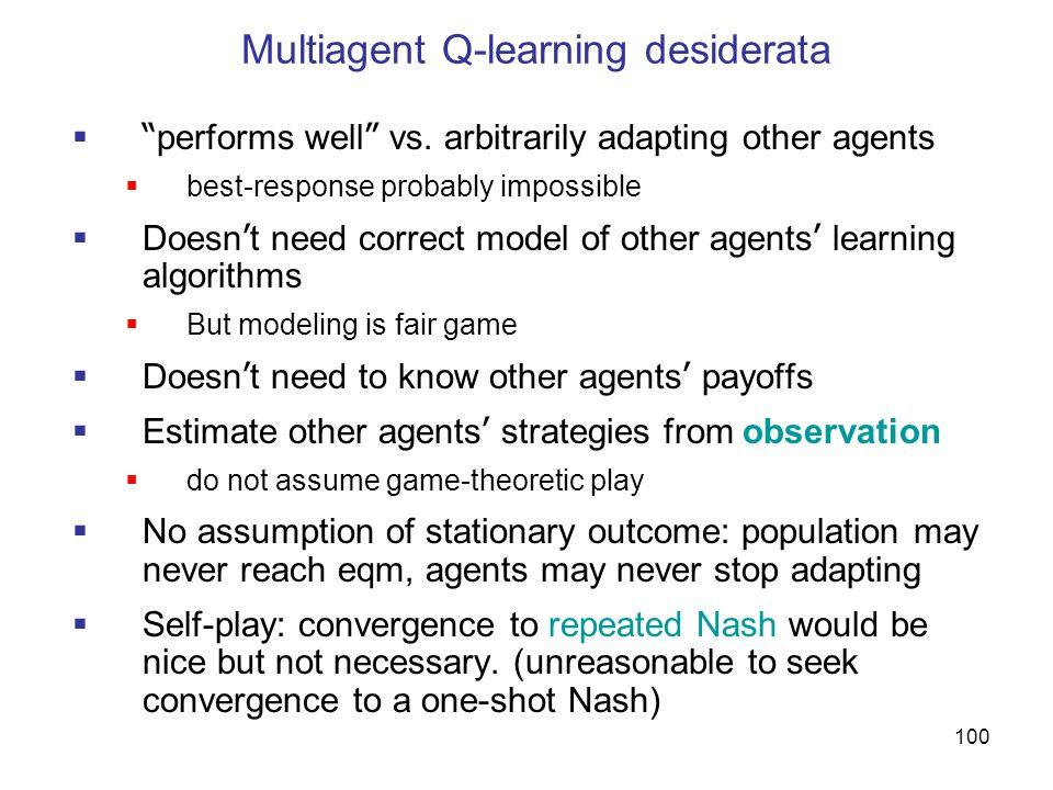 Multiagent Q-learning desiderata