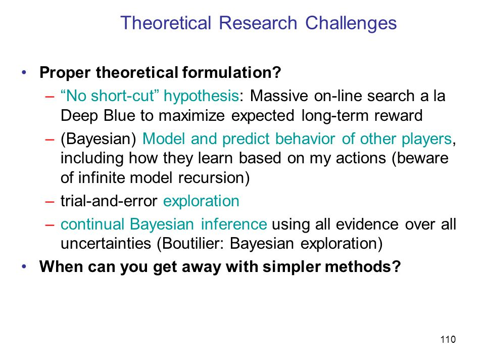 Theoretical Research Challenges