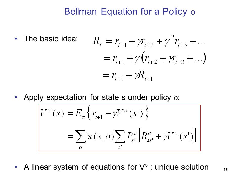 Bellman Equation for a Policy 