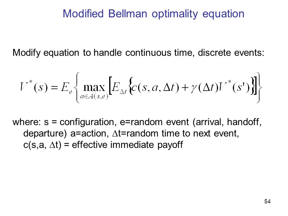 Modified Bellman optimality equation