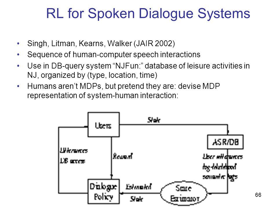 RL for Spoken Dialogue Systems