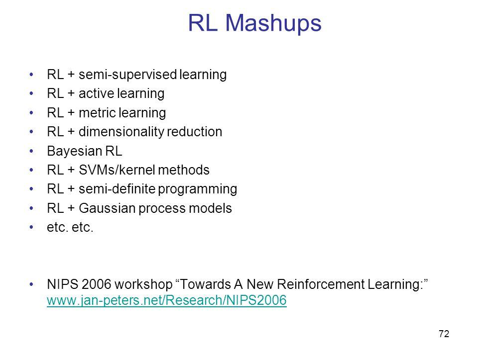 RL Mashups RL + semi-supervised learning RL + active learning