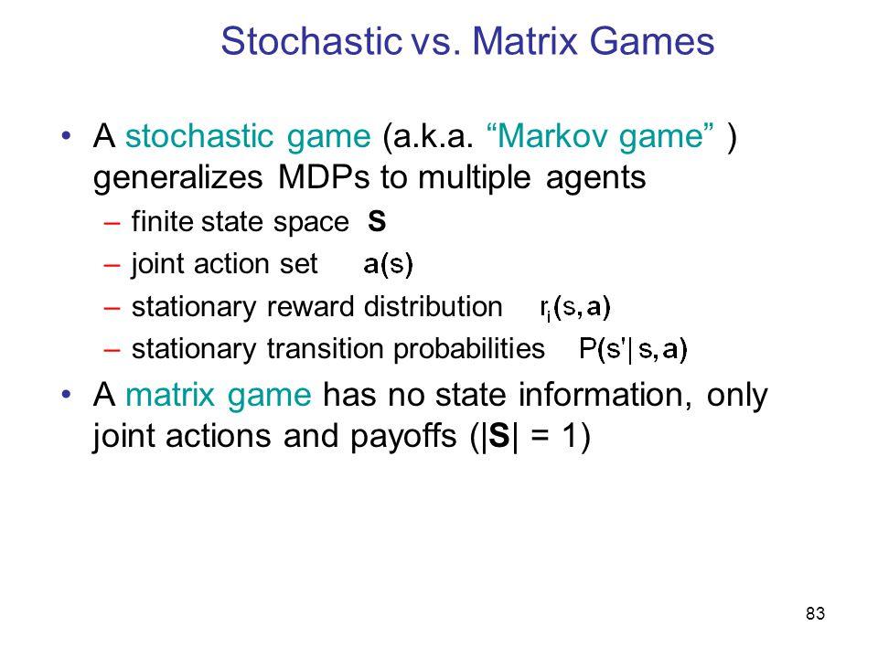 Stochastic vs. Matrix Games