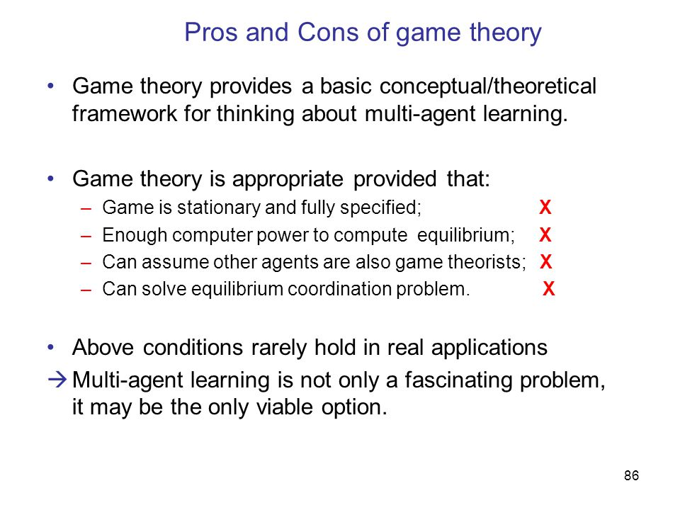 Pros and Cons of game theory