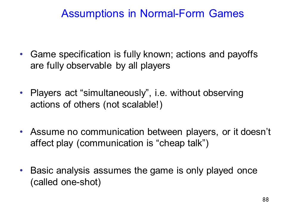 Assumptions in Normal-Form Games