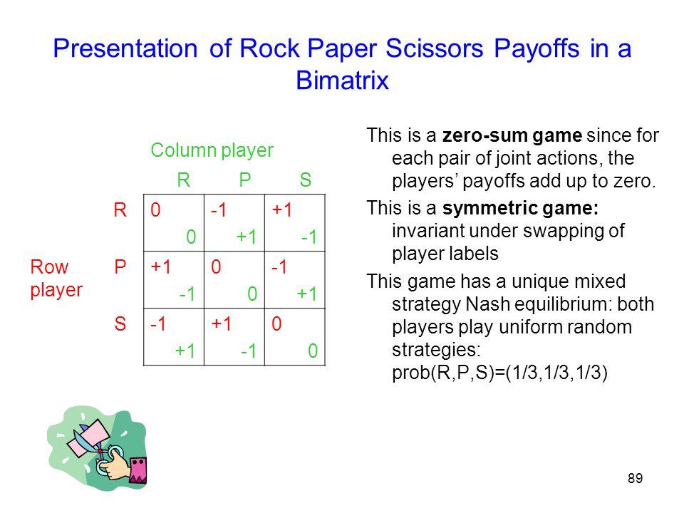 Presentation of Rock Paper Scissors Payoffs in a Bimatrix