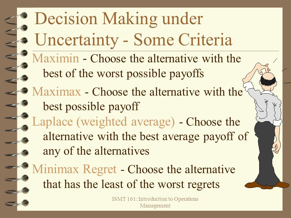 Decision Making under Uncertainty - Some Criteria