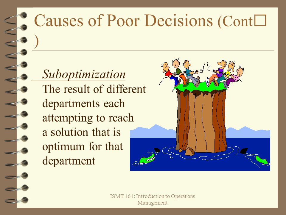 Causes of Poor Decisions (Cont)