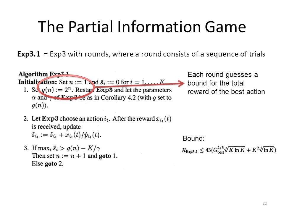 The Partial Information Game