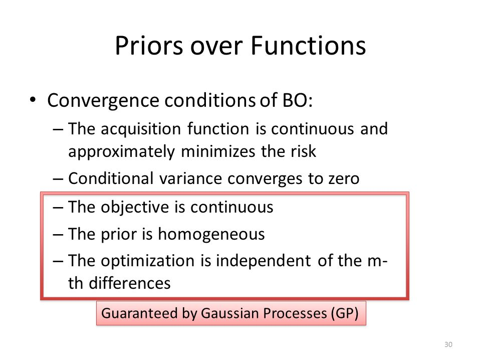 Priors over Functions Convergence conditions of BO:
