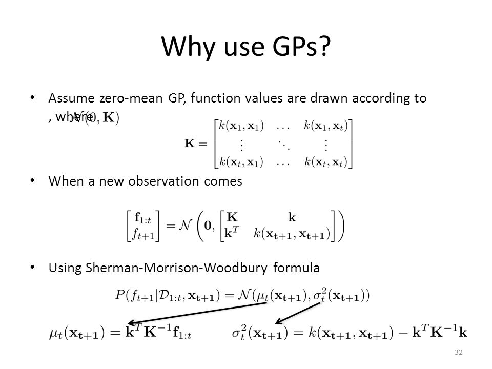 Why use GPs Assume zero-mean GP, function values are drawn according to , where. When a new observation comes.