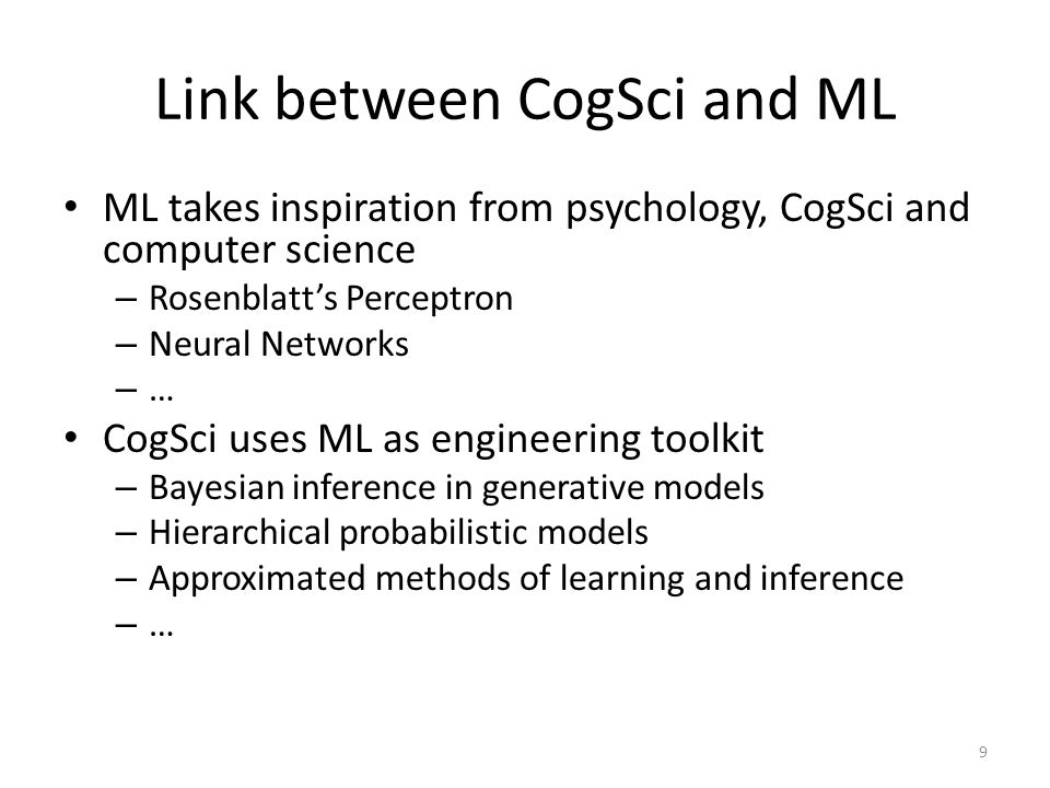 Link between CogSci and ML