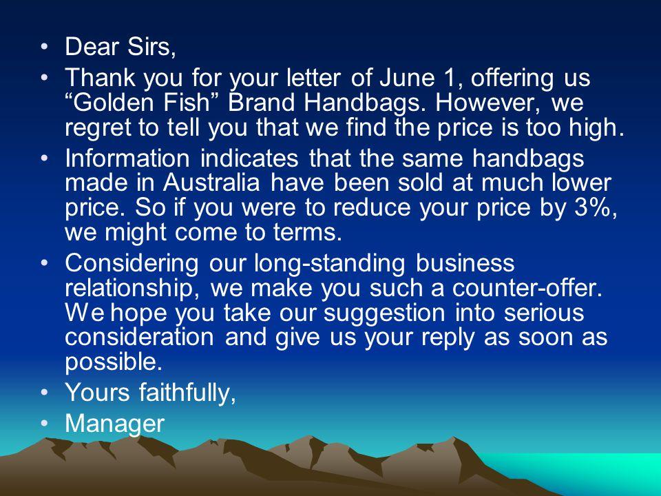 Dear Sirs,