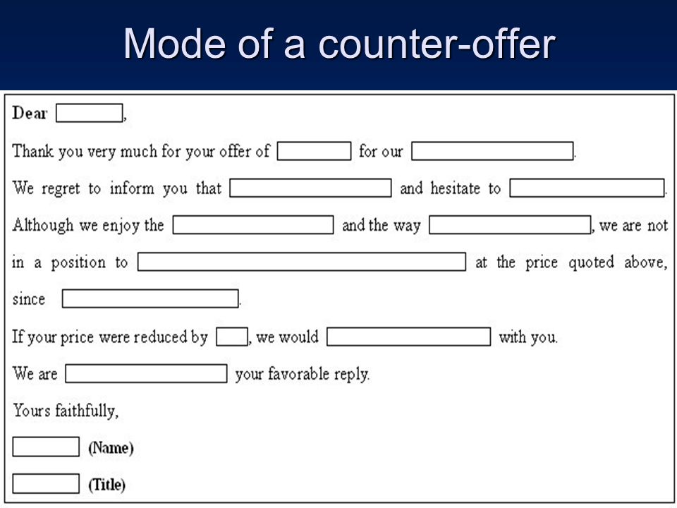 Mode of a counter-offer