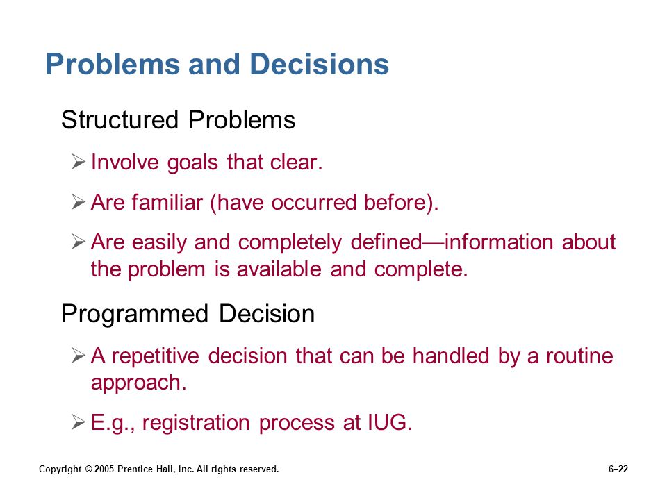 Problems and Decisions