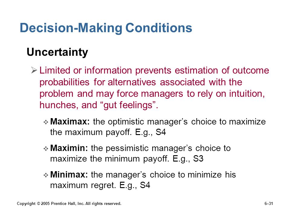 Decision-Making Conditions