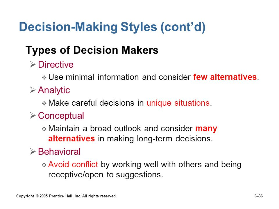 Decision-Making Styles (cont'd)