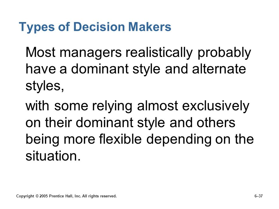 Types of Decision Makers