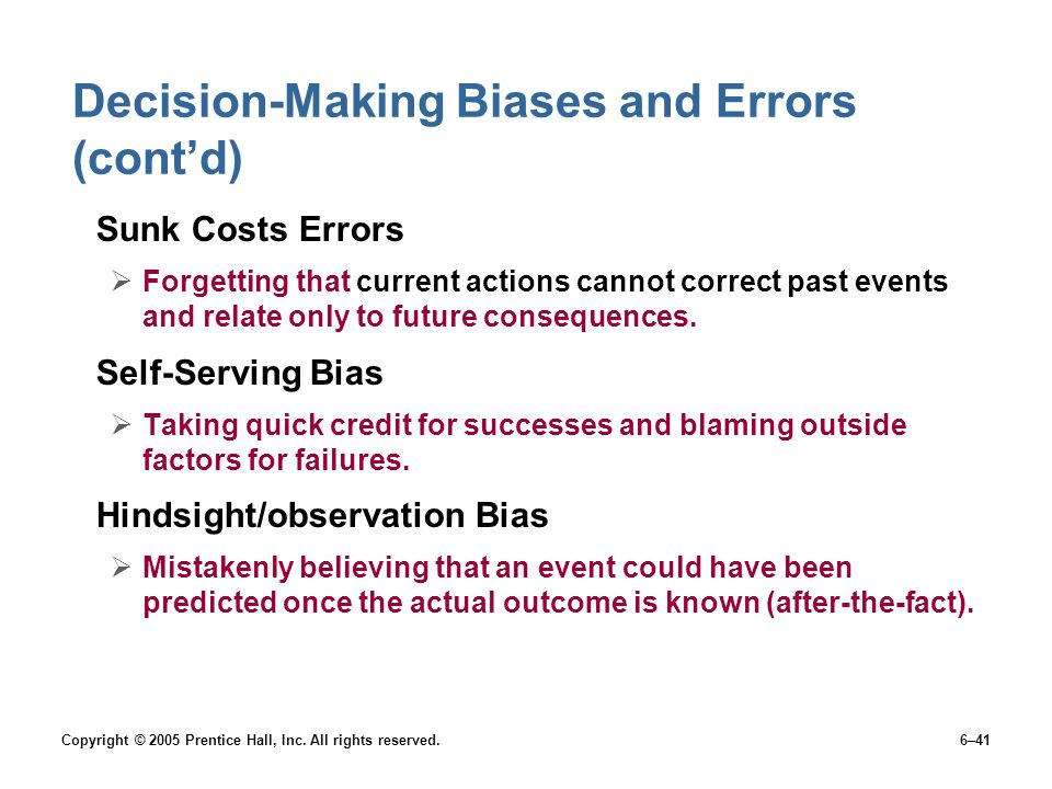 avoiding errors in the decision making 5 biases in decision making – part 2 this post is part of a 3-part series on the topic of biases in decision making loss aversion—avoiding risk.