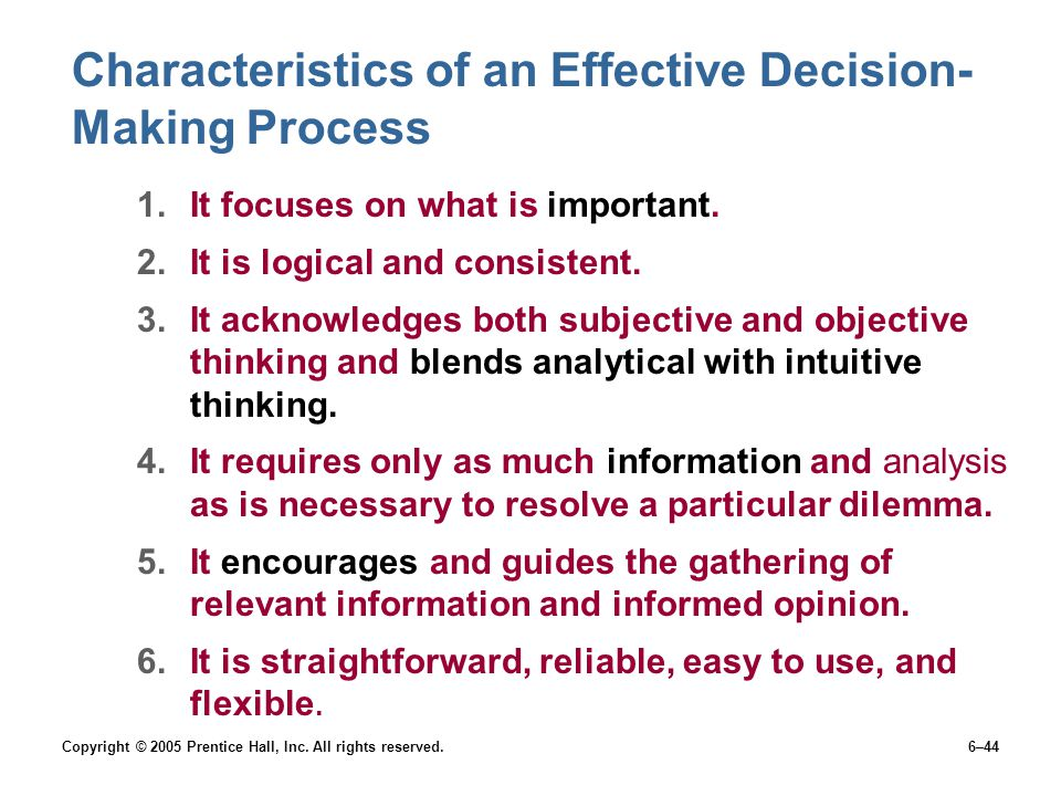 Characteristics of an Effective Decision-Making Process