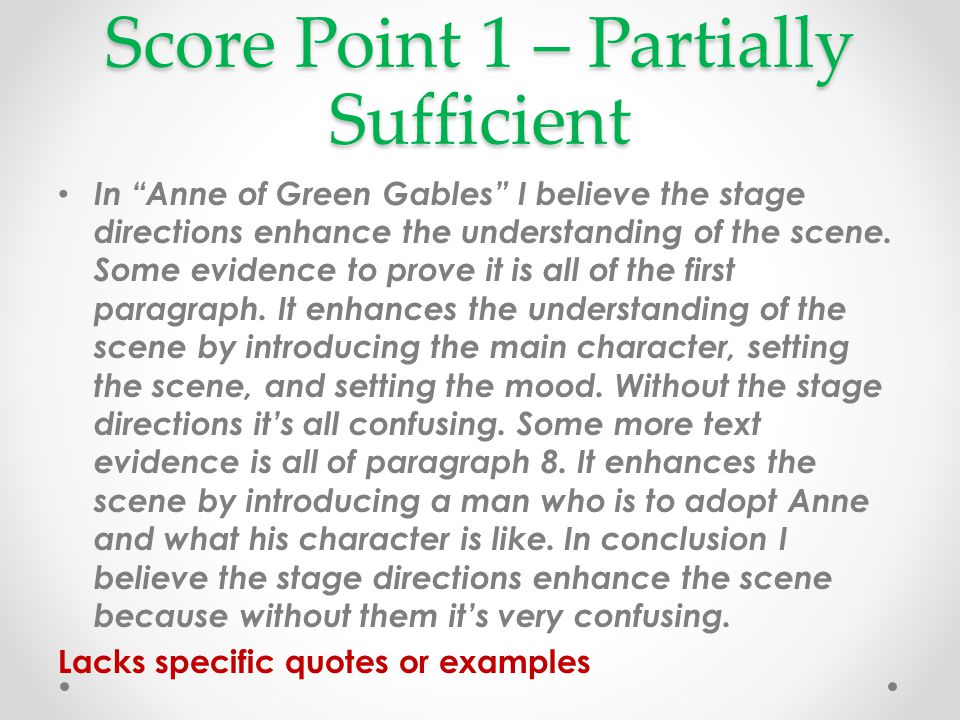 Score Point 1 – Partially Sufficient