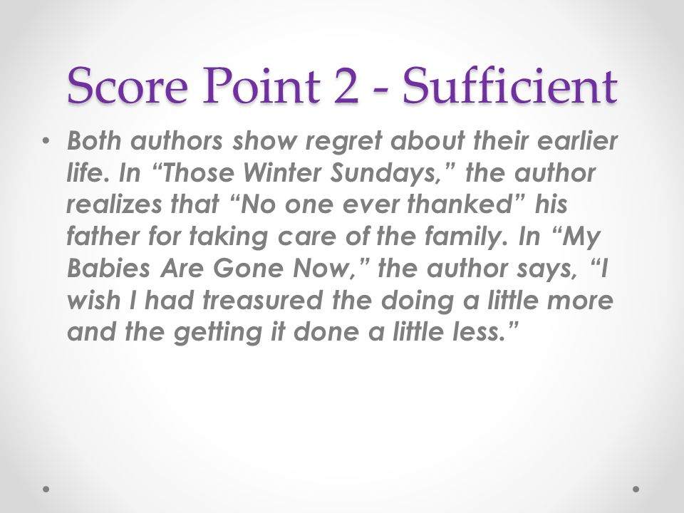 Score Point 2 - Sufficient