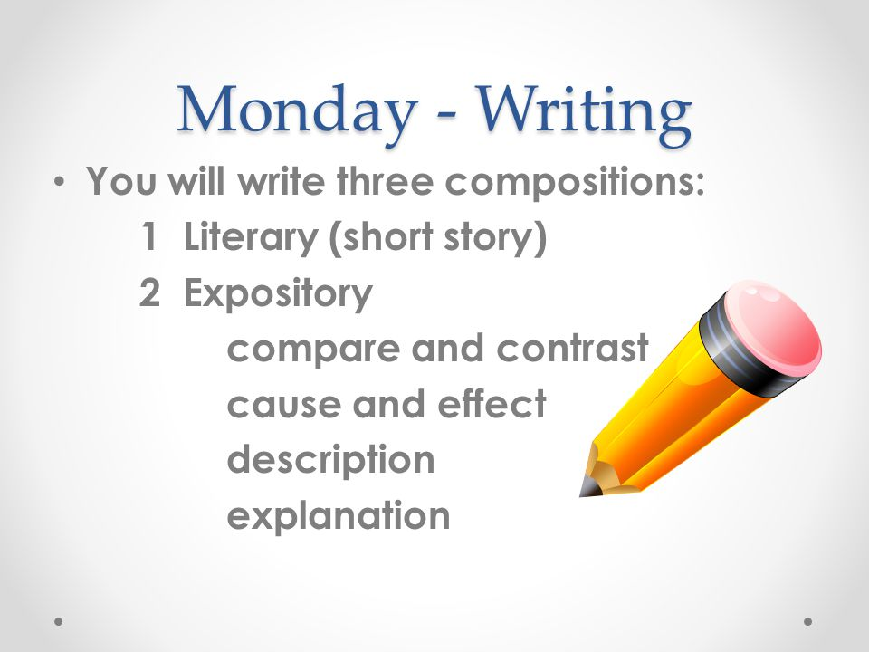 Monday - Writing You will write three compositions: