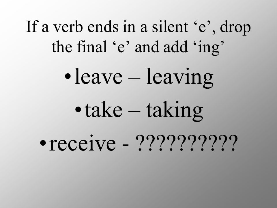 If a verb ends in a silent 'e', drop the final 'e' and add 'ing'