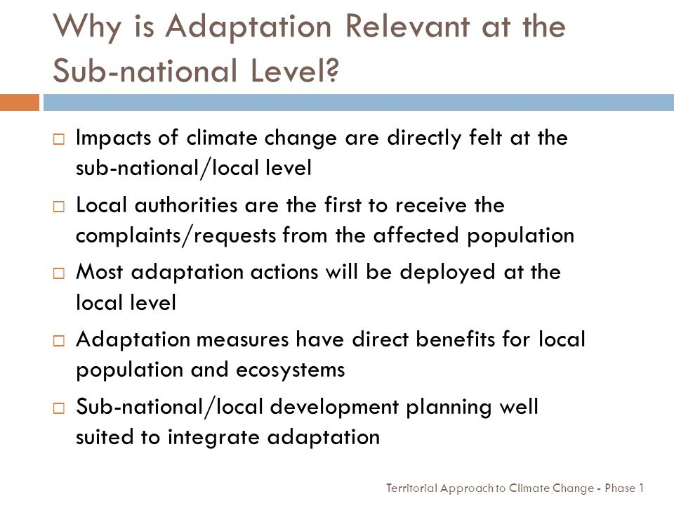 Why is Adaptation Relevant at the Sub-national Level