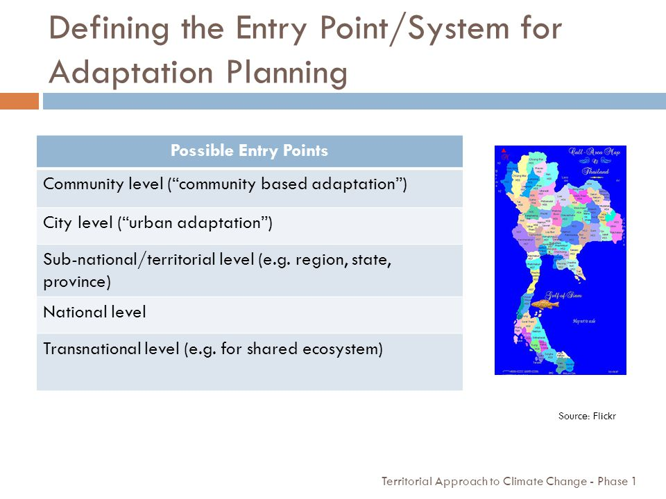 Defining the Entry Point/System for Adaptation Planning