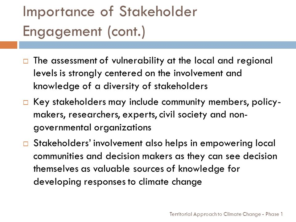 Importance of Stakeholder Engagement (cont.)