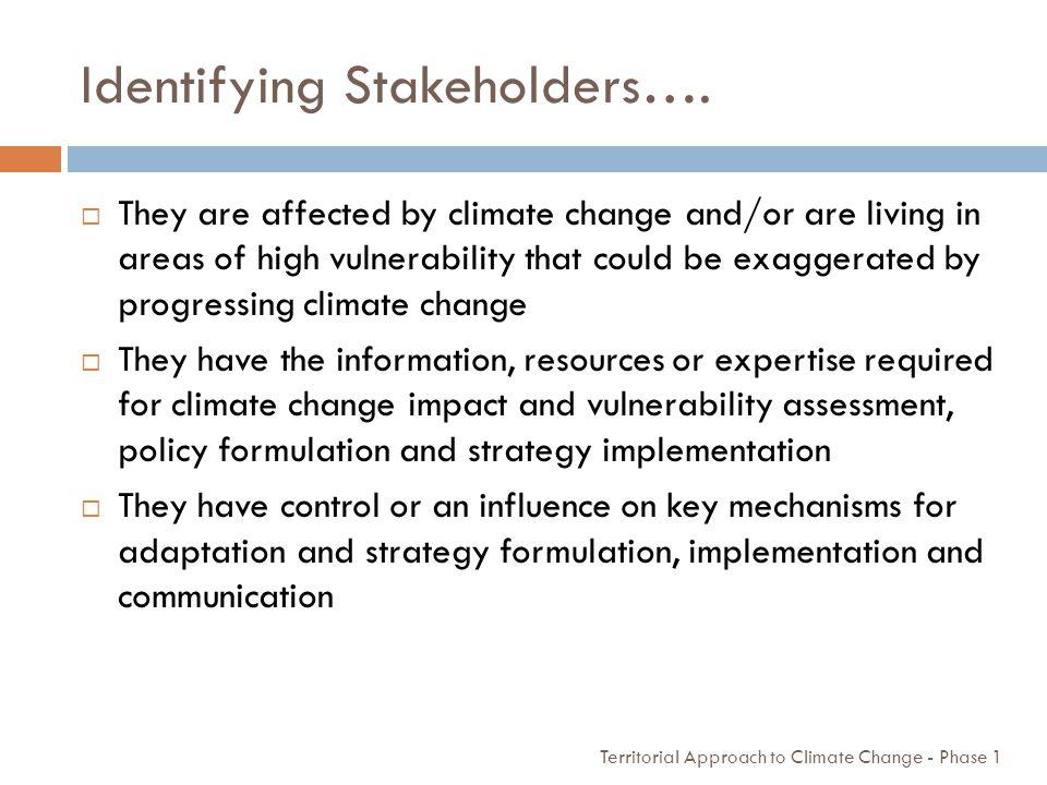 Identifying Stakeholders….