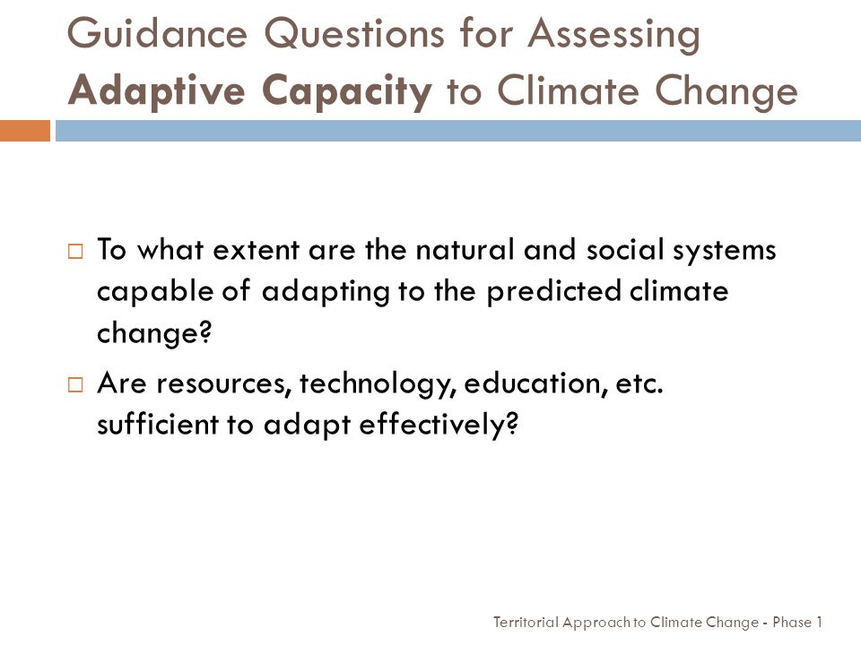 Guidance Questions for Assessing Adaptive Capacity to Climate Change