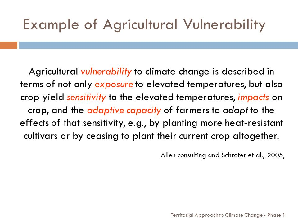 Example of Agricultural Vulnerability