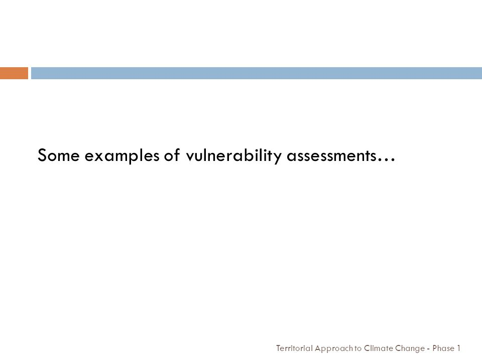 Some examples of vulnerability assessments…