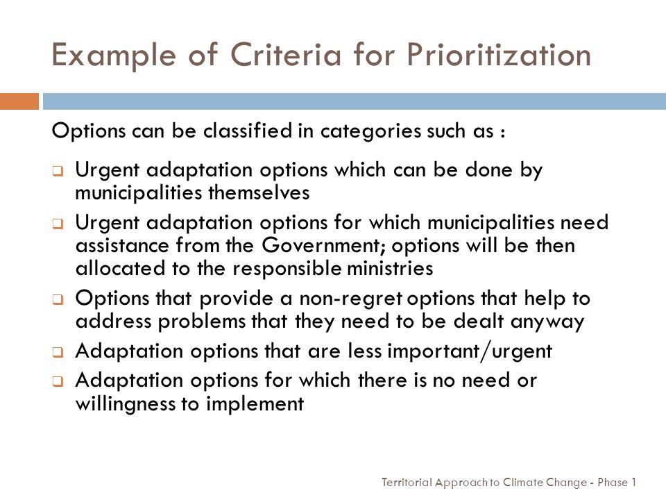 Example of Criteria for Prioritization