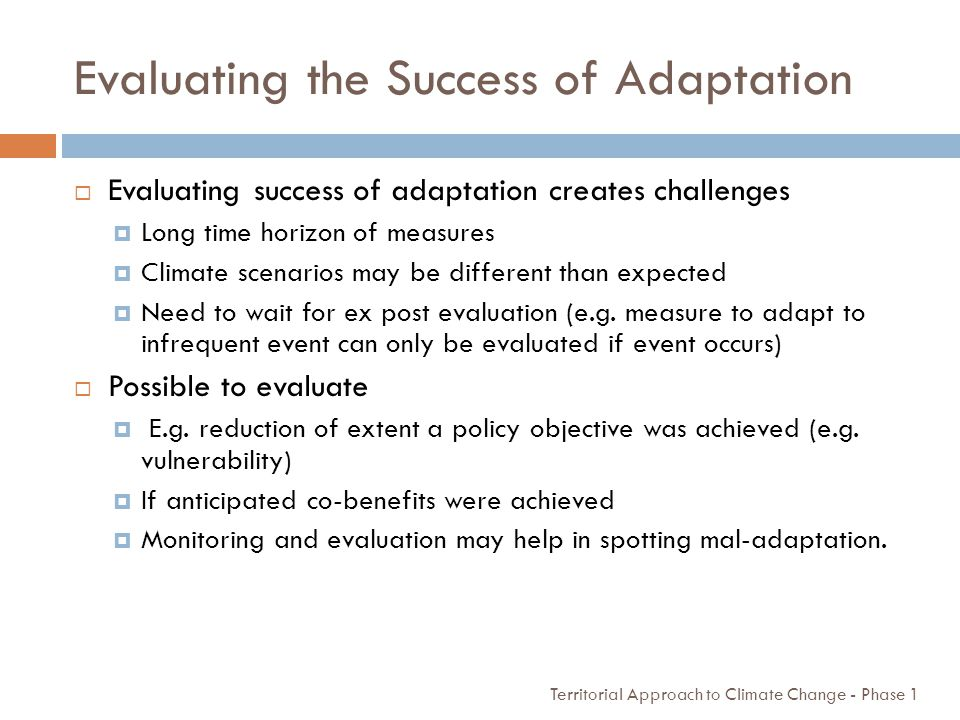 Evaluating the Success of Adaptation