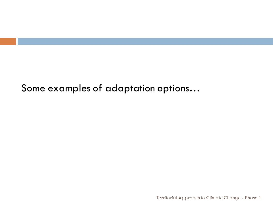 Some examples of adaptation options…