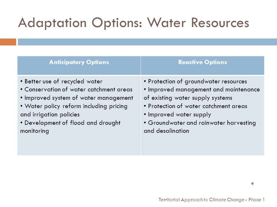 Adaptation Options: Water Resources
